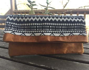 Leather Fold-over Clutch in Brown with Aztec Fabric Accent