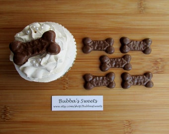 PUPPY BONE Chocolate Cupcake Toppers  (24) - PUPPY Favors/Dog Bone