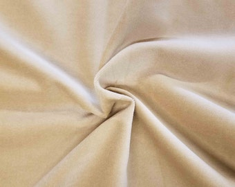 Luxurious Solid Cream 100% Cotton Velvet Velour Fabric for Upholstery Heavy Weight Curtain Drapery Material Sold by the Yard 54 inch Wide