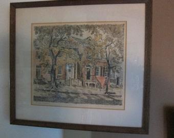 "Caroline van Hook Bean lithograph  ""P street, Georgetown"""