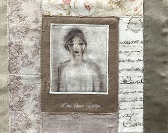 Mixed Media Collage Embroidery Artwork on linen  - Portrait Painting - Textile Art -  Watercolour Painting Fabric Collage Fiber Art Textiles