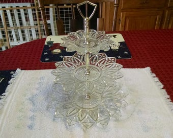 "federal glass co. 19"" three section petal tid bit stand"