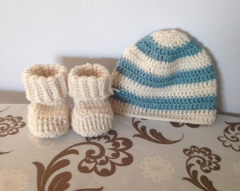 Baby crocheted hat and booties