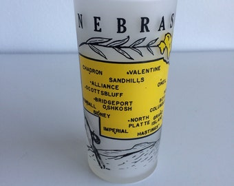 Vintage State of Nebraska Collectible Souvenir Frosted Glass Tumbler