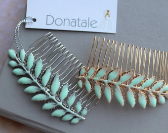 Mint Hair Comb  Leaf Hair Comb  Laurel Headpiece Grecian Headpiece laurel leaf bridesmaid comb Goddess head piece Blush Ivory -LAUREL Pastel