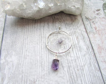 Amethyst Point Dream Catcher Pendant - Gemstone Necklace Raw Stone - Silver Plated