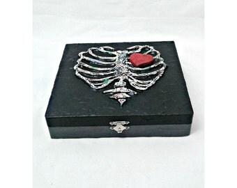 Ribcage Heart Stash Box, mixed media gothic trinket box