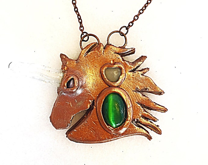 Quartz Crystal Unicorn Large Statement Bronze Pendant with Cat Eye Gems on Copper Chain, Mystical Healing Crystal Necklace