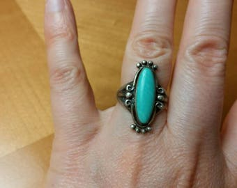 Native American Sterling Silver Turquoise Ring Size 5.5 Bell Trading Company