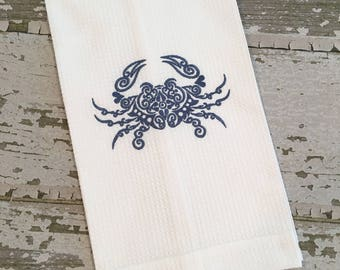 Crab Hand Towel, Waffle Weave Hand Towel, Embroidered Hand Towel