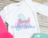 Monogrammed newborn outfit in hot pink and aqua, baby girl take home hospital outfit personalized, monogrammed newborn gown, newborn hat