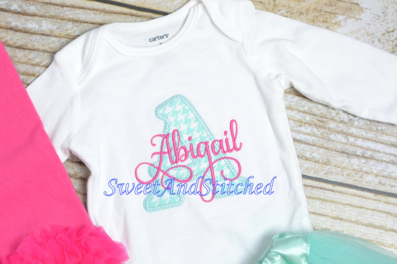 Design your own t-shirt hot pink - Monogrammed Newborn Outfit In Hot Pink And Aqua Baby Girl Take Home Hospital Outfit Personalized Monogrammed Newborn Gown Newborn Hat