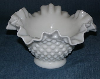 Fenton Lo-Footed Hobnail Milk Glass Bowl