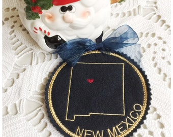 I Heart New Mexico Coaster and Ornament Machine Embroidery Design Instant Download I Love New Mexico with Positionable Heart