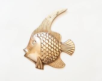 Vintage Brass Fish Wall Hanging, Angelfish Bathroom Beach Home Decor
