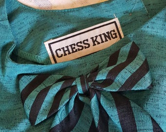 Chess King Teal and Black Raw Silk Top with a Striped Bow - Size Extra-Small / Small