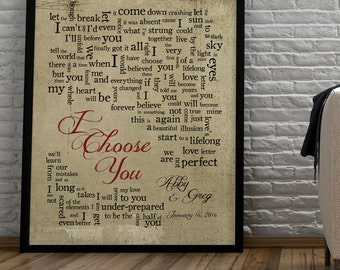 I Choose You // Sara Bareilles // 1st Paper Anniversary Gift for husband wife//Song Lyrics//Personalized names//date pick colors verse print