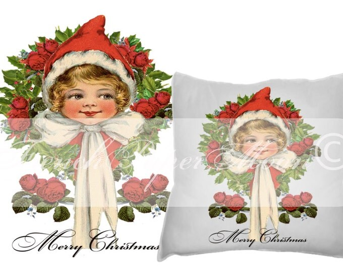Digital Shabby Chic Vintage Christmas Girl with Red Rose Wreath, Instant Download Christmas Pillow Image, Graphic Transfer Printable