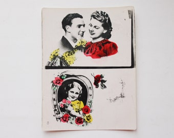 Old vintage photo postcard 1- old USSR postcard with the poem - 1960s