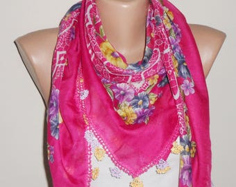 pink scarf yellow flower green purple white aidaidris cotton scarf turkish scarf oya scarf woman scarf gift for her