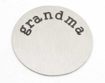 Grandma Stamped Silver Large 30mm Floating Locket Plates for Glass Floating Memory Locket Necklaces