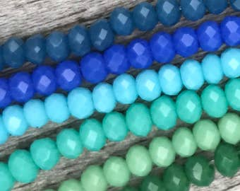 "18"" Total Czech Glass Ocean Blue And Green Mix Faceted Rondelles, 2x3mm"
