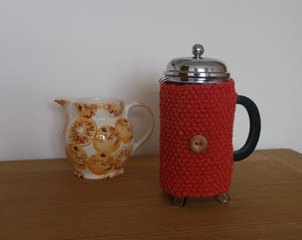 Tangerine hand knitted cafetiere cosy with wooden button detail - Ready to ship