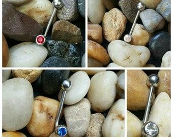 1x L shaped Custom bent barbell christina Vertical hood piercing VCH PIERCINGS Genital ring Jewlery - PICK Color Gem or Regular silver balls