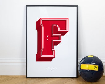F is for Forest (Nottingham Forest), Football Typography Print