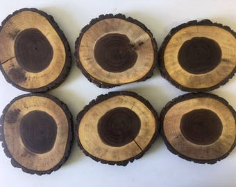 Wood Coasters, Set of 6 Coaster,Bridesmaid Gifts,Shower Gifts, Wedding Favors, Sliced Wood,