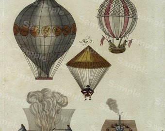 Original Antique astronmoy Hand Colored Engraving of Hot air balloons science