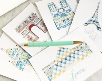 Paris postcards set of 5. Illustrated paris prints. Eiffel tower. notre dame. nursery art.
