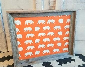 Reclaimed Wood Framed Cork Board ~ Woodland Bulletin Board ~ Bear Memo Board ~ Driftwood Fabric Pin Board ~ Ready to Ship