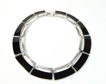 950 Silver Black Onyx Alicia Necklace Hand Made Taxco Mexico Heavy Panels Choker Modernist Award Winning Artist Heavy Chunky Vintage