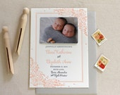 Letterpress Baby Twin Birth Announcements with photos - 50 flat cards with envelopes - 2 ink color - monogram, flower, floral newborn
