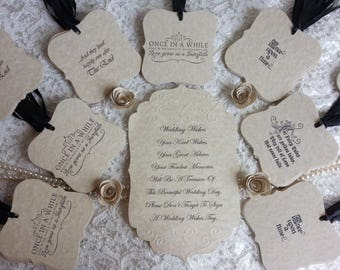 150 WISH TREE TAGS  Fairytale Styles Adorned With A Black Satin Ribbon