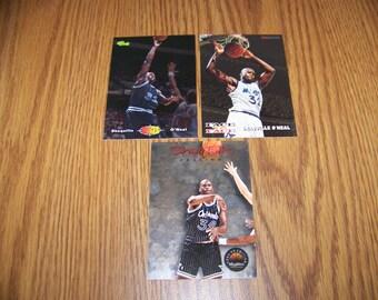 3 Vintage Shaquille O'neal (Orlando Magic) Basketball Cards