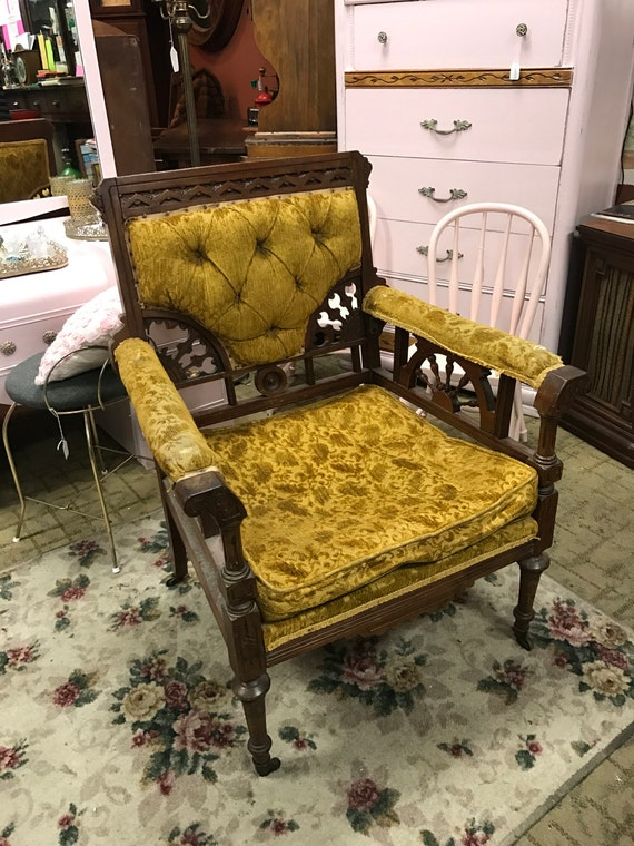 Eastlake armchair gold upholstered