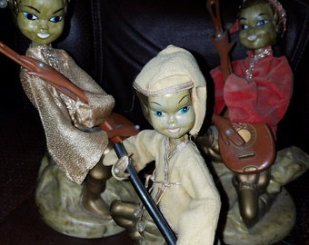 Vintage Set of 3 Elf/Pixes Playing Music