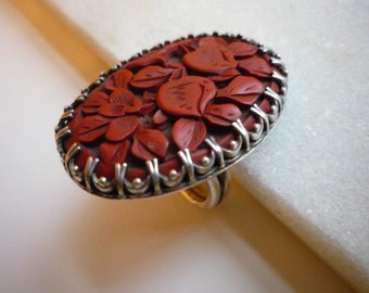Stunning Vintage Large Red Carved Floral Cinnabar Sterling Silver Ring Size 8