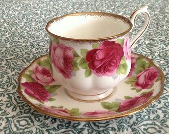 Gorgeous Old English Rose bone chine teacup and saucer Royal Albert - England