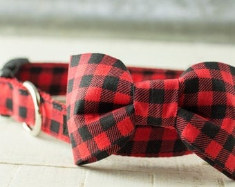 Red and Black Buffalo Plaid Bow Tie - Dog Collar Bow-Tie Accessory