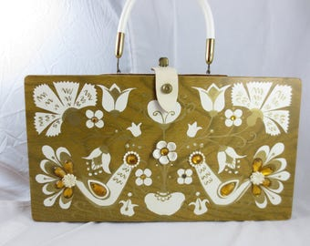 Enid Collins Box Bag, 1960s Collins of Texas Purse,White Peacock Purse,Jeweled Purse,EC Paven Wooden Purse,Vintage Texas Style