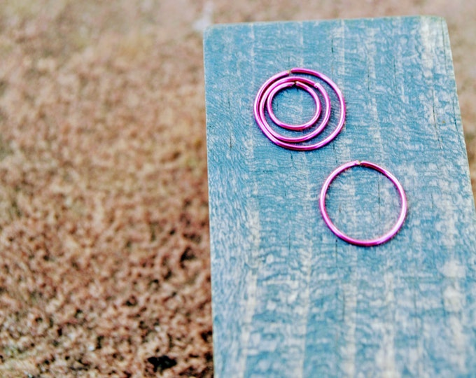 Pink Nose Ring, Small Hoop, Handmade Jewelry, Hoop Nose Rings, Nose Ring, Pink Hoop