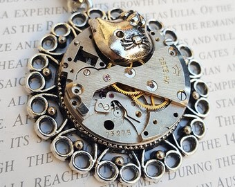 Steampunk Cat Necklace Pendant -Watch Part Necklace- Tricycle Necklace Gift for Steampunk Lovin