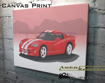 Dodge Viper GTS CANVAS PRINT 12x8(A4) to 36x24(A1) Classic Cars Custom Personalised Premium Illustration American Muscle V10 Engine Supercar