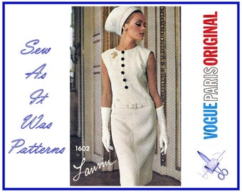 "1960s Vogue Paris Original 1602 Lanvin Sheath Dress Dropped Waist Sleeveless Button Belt Trim Vintage Sewing Pattern Size 12 Bust 32"" 83cm"