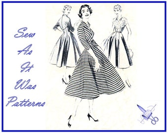 """1950s Butterick 7202 Flared Gored Skirt Shaped Fitted Bodice Kimono Sleeve Wing Collar Dresses Vintage Sewing Pattern Size 14 Bust 32"""" 83cm"""