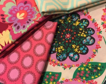 "Amy Butler Fabric - SPECIAL 1/2 yd each of 3 AND 13""x44"" of 1 fabrics shown by Westminster 100% High Quality Cotton Yardage SAVE"