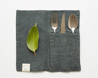 Set of 2 Forest Green Linen Cutlery Pocket